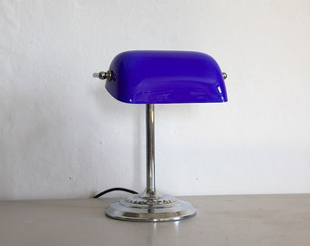 French Vintage Desk Lamp Lamp with Blue Glass Opaline Shade