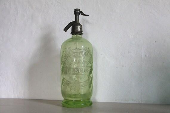 Antico francese parigino sifone vetro verde pallido for Bottiglia in francese