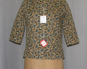 Vintage 1960s Blouse Unworn/ Deadstock w tag Brown Teal Button Up Vintage Clothing 60s Mad Men Fashions Sm