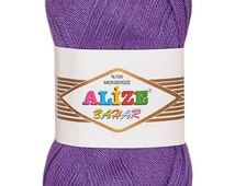 Alize Bahar 100% Mercerized Cotton yarn. Colour of your choice. Wholesale. Set of 5 skeins. DSH