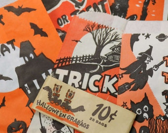5 Vintage Halloween Paper Treat Bags