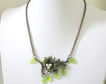 Birds Nest Necklace Copper Tree Branch Jewelry Sparrow