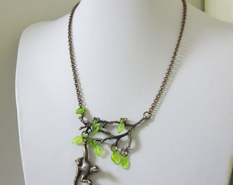 Monkey Necklace Copper Branches Green Leaf Tree Branch Jewelry