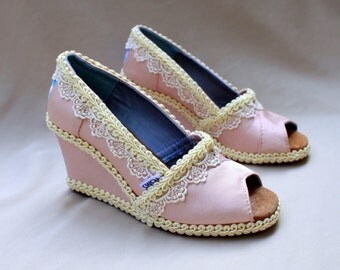 Custom Wedding TOMS -- Pink Wedge Size 8.5 - Petal Grosgrain Toms