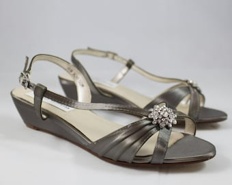 Pewter Wedding Shoes Wedge Low heel -- 1 inch heel shoes