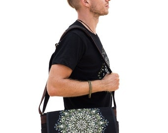 Mandala Messenger Bag, Laptop Bag, 13 inch 15 inch Laptop Messenger Bag, Canvas Messenger Bag, Uv, Glow In The Dark