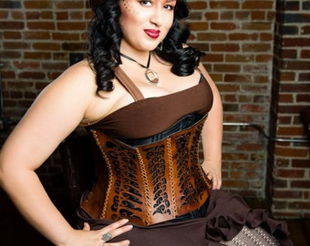 Swirly Leather Corset - Fantasy, Steampunk, Burning Man