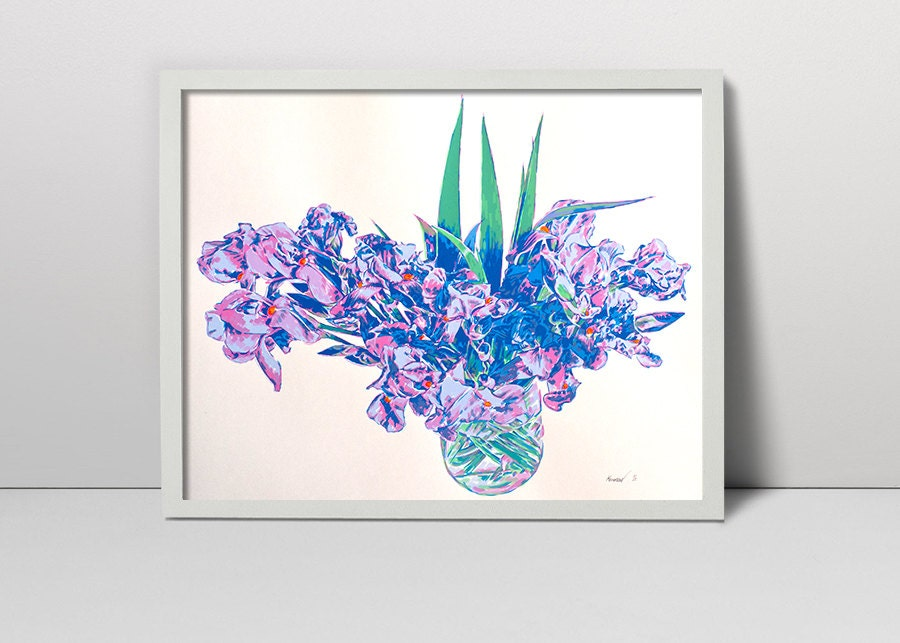 handmade screen print painting vase with iris flowers. Black Bedroom Furniture Sets. Home Design Ideas