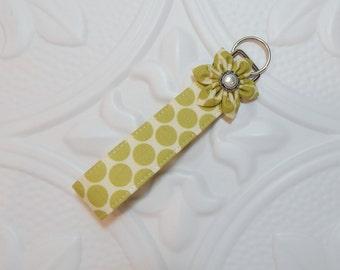 Key Fob - Wristlet Key Fob - Keychain - Green And Off White Polka Dot
