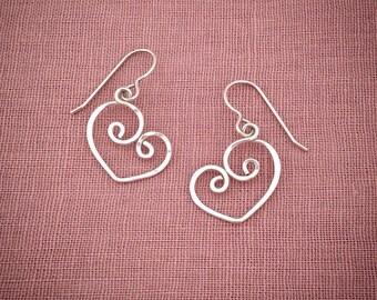 Silver Heart Earrings Spiral Sweetheart Love