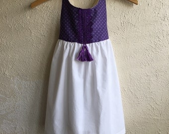 White & Purple Polka Dot Penelope Dress - Handmade w/Embroidery and Tassels