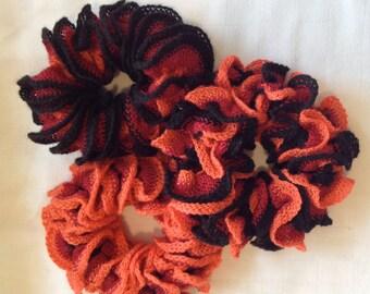 Lot of 3 Girls Women's hair scrunchi's ponytail holders hair accessories hair elastics orange black red