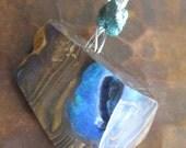 Boulder Opal Pendant Rough Emerald Sterling Silver Fiery Fire Australian Rough Raw October Birthday Gift