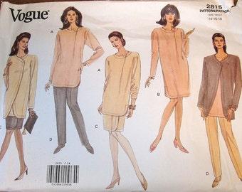 Vogue 2815 Asymmetrical Jacket, Skirt, Dress Pants Womens Misses Easy Vintage Sewing Pattern Size 14 16 18 Bust 36 38 40 Uncut Factory Folds