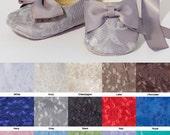 Silver Lace Baby & Toddler Shoe, Little Girls Gray Ballet Slipper, Wedding Shoe, Flower Girl Ballet Flat, Dance Shoe, Baby Souls Baby Shoes