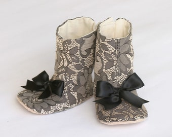 Black Baby Boot - Lace Baby Bootie - Crib Shoe - Toddler Boot - Baby Shoes - Baby Souls Couture Shoes