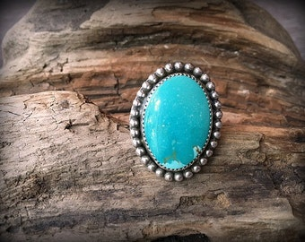 Nevada Turquoise Sterling Silver Ring - Size 9