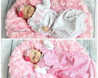 Newborn Baby Girl Sleep Sack Reversible Monogrammed Baby Girl Sleep Sack Baby Sleeping Bag Baby Gifts
