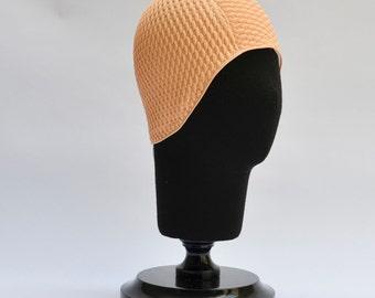 Swim Cap - Vintage style Peach swimming hat cap Bathing cap Pool cap