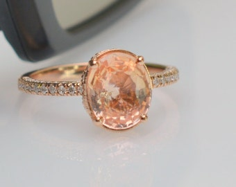 untreated 2 carts Sunset Sapphirerose gold engagement ring | sapphire engagement ring | SKU 2534 JOANNA