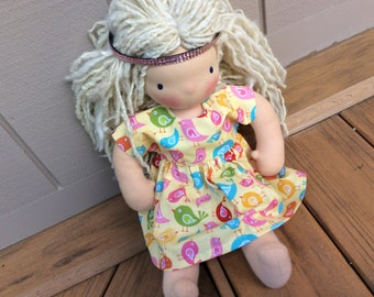 """16-18""""  doll clothes, sweet and simple Bird print, fits American Girl, Waldorf"""