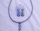 Vintage Sterling Silver Turquoise Dangle Pendant and Pierced Earrings