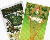 "Antique St Patricks Day Postcards. Set of Two ""Erin Go Bragh"" Pretty Lady with Celtic Harp, Embossed. Shamrocks, Flag.  Vintage Irish Décor"