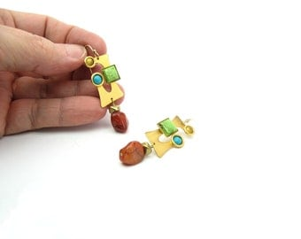 Matte Gold Earrings. Modernist Gemstone Dangles. Vintage 1980s Bauhaus Style Jewelry. Gold Tone, Agate, Turquoise, Cats Eye. Pierced.