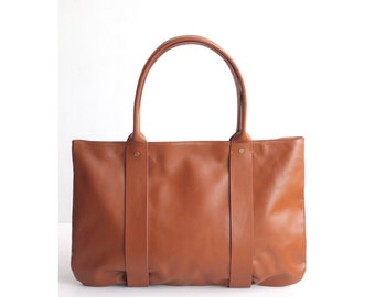 "JANUARY Leather Tote Bag. Tote Bag. Tan Leather Bag. Leather Shoulder Bag. Leather Handbag. Work Bag. 13"" Laptop. Tan Leather. Women Handbag"