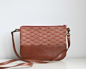 Crossbody Waves pattern leather bag, Boho chic, Clutch Purse, Every day purse, Vegan, Every day bag, Red, Brown