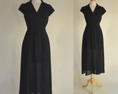 90s Dress / 90s High Low Dress / Little Black Dress / Shirtwaist Dress / Sheer Black Dress