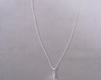 Elaborate Sterling Silver Cross with Crystals Pendant on Petite Chain
