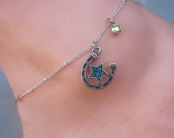"Silver and Gold 9"" Anklet with Horseshoe and Star Charm Anklet"
