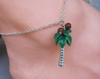 Silver Palm Tree with Enameled Green Leaves and Coconuts Charm Anklet
