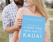 Personalized Wedding Keepsake - Kauai Art Print - Use Your Text/Colors, Canvas Framed Unframed