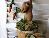 Spring Garden Rabbit E Pattern, Primitive Folk art