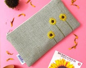 Ready To Ship Sunflower Burlap Clutch - Zipper Pouch - Hand Embroidered Clutch