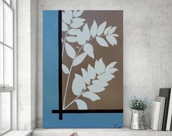 Leaves Painting, Botanical Painting, Original Painting on Canvas, Large Painting, Minimalist Art, 36x24 Heather Day Original Paintings