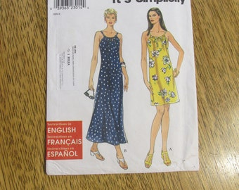 BOHO 1990s Cute A-Line Summer Sundress / Easy Drawstring Straps - ALL Sizes (Xs - S - M - L - Xl) - UNCUT Sewing Pattern Simplicity 8722