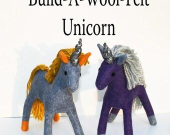 Build-A-Wool-Felt Natural Unicorn ~ Personalized Fantasy Handmade-to-Order Eco Friendly, Stuffed Unicorn, Custom Plush Alicorn