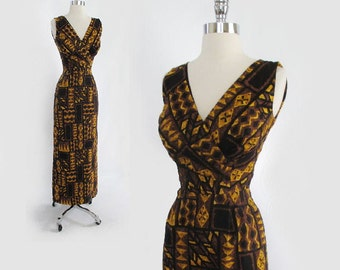 Vintage 50's 60's Kamehameha Bombshell Hawiian Cocktail Dress Evening Gown XS