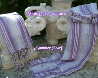 SHEER SUMMER SCARF ~ White & Lavender Stripe ~ Handwoven in India ~ Gift Box