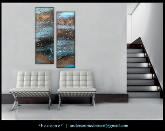 "Large Wall Art Abstract Fluid Acrylic Original Diptych Paintings Modern Artwork "" become "" by Holly Anderson SALE + FREE SHIPPING"