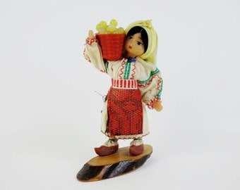 Vintage Soviet Folk Doll Figurine with Clogs Carrying a Basket Made of Wood and Plastic