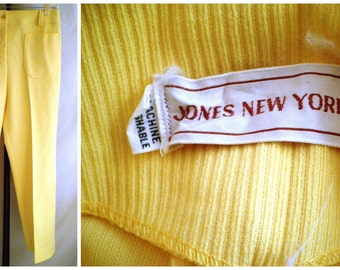 Vintage 1960s Pants  Vintage Yellow Hip Huggers 31 Waist 1960s Vintage Mod  Bright Yellow Pants