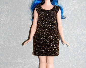 Curvy Barbie Glittery Gold Dress A4B160 fashionista fashion doll clothes
