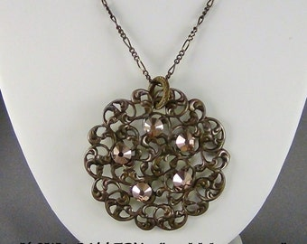 """Filigree Necklace  - Natural Brass, 6mm Swarovski Rose Gold, Natural Brass Figaro Chain - 32"""" + 2"""" Pendant - Hand Crafted Artisan Jewelry"""