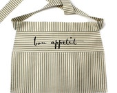 Bon Appetit Half Apron, Red or Green Striped
