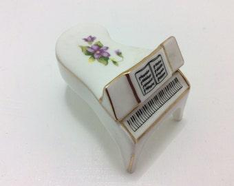 Small porcelain piano trinket box, gift, vintage