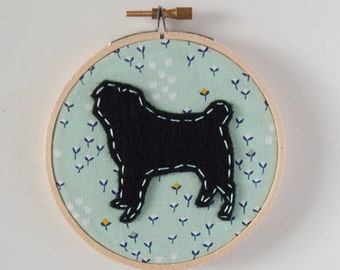 "4"" Pug Embroidery Hoop Ornament"